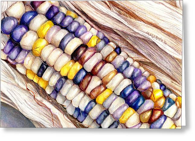 Glass Gem Corn Greeting Card by Shana Rowe Jackson
