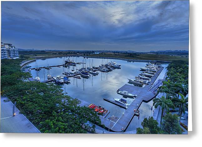 glass Harbour Greeting Card by Mario Legaspi