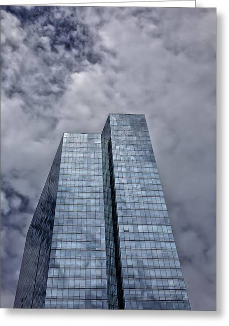Glass High Rise And Clouds Greeting Card by Robert Ullmann