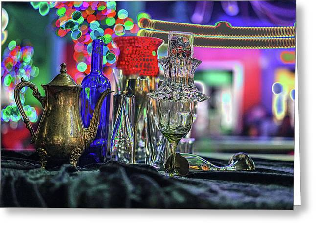 Glass In The Frame Of Colorful Hearts Greeting Card by Kenneth James