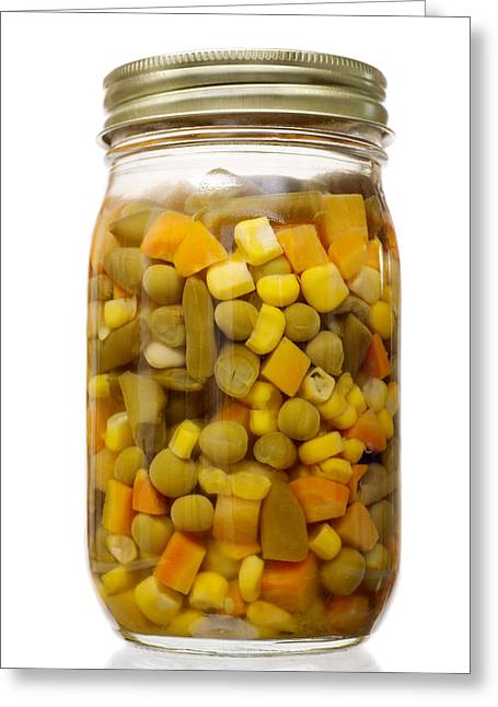 Glass Jar Of Preserved Mixed Vegetables Greeting Card