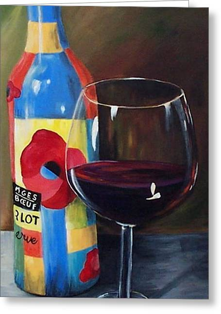 Glass Of Merlot   Greeting Card by Torrie Smiley