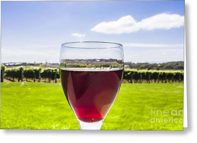 Glass Of Red Merlot Wine. Wineries And Vineyards Greeting Card by Jorgo Photography - Wall Art Gallery