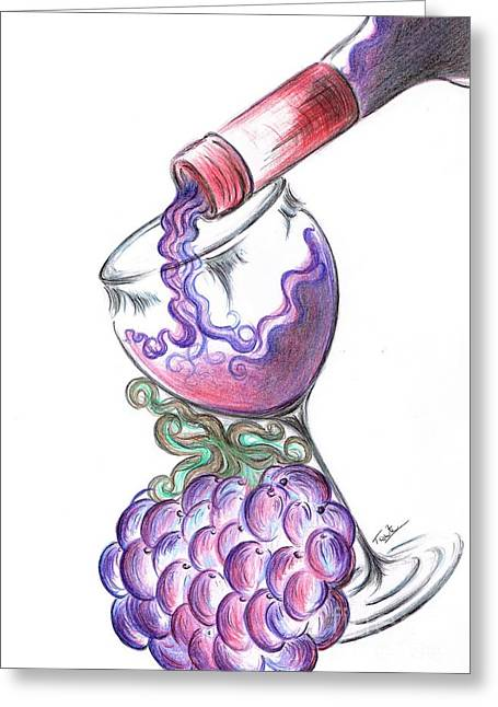 Glass Of Vino Ros'e  Greeting Card by Teresa White