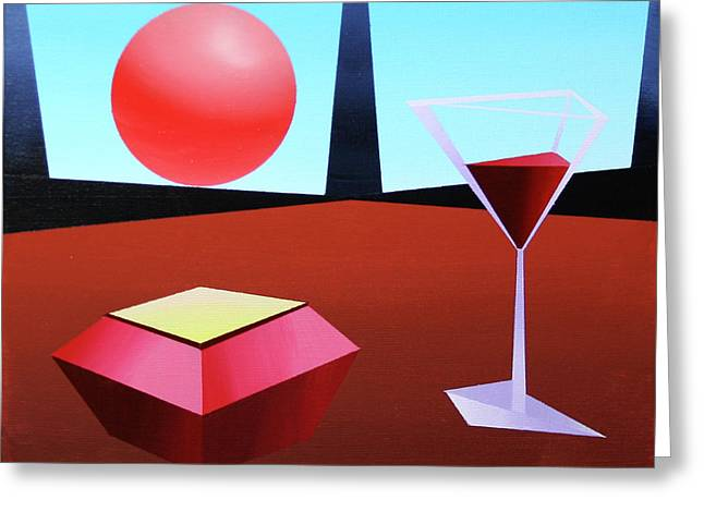 Glass Of Wine On Planet X Greeting Card by Mark Webster