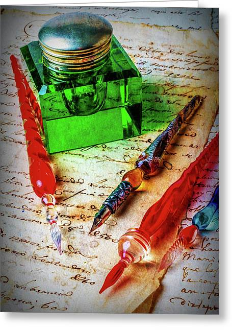 Glass Pens And Green Ink Well Greeting Card by Garry Gay