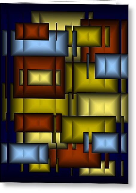 Glass Tile Abstract Greeting Card by Terry Mulligan