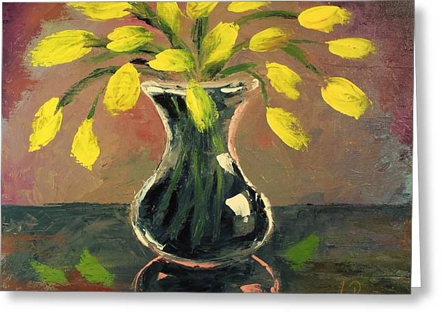 Glass Vase And Yellow Flowers Greeting Card