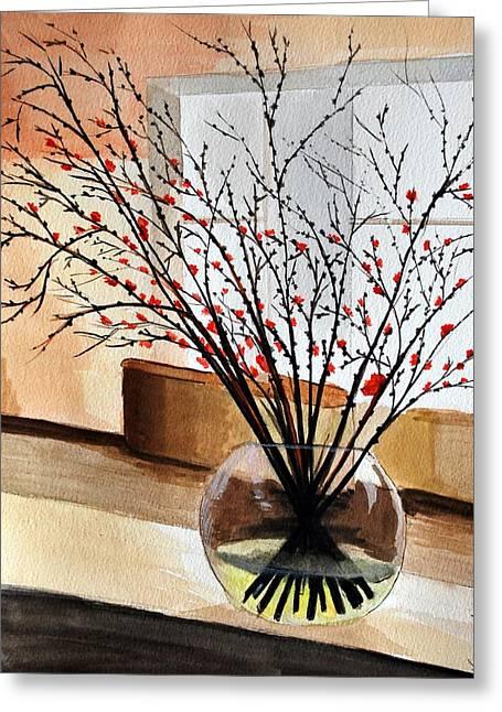 Glass Vase Greeting Card by Kostas Koutsoukanidis