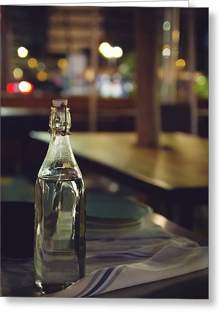 Glass Water Bottle Greeting Card by April Reppucci