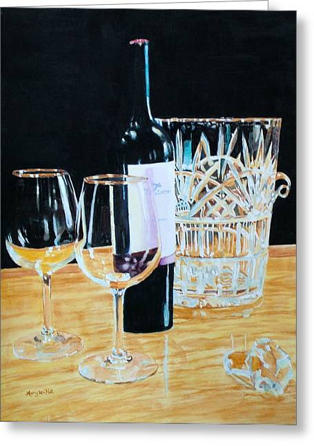 Glass Wood And Light And Wine Greeting Card by Mary Lou Hall