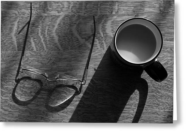 Glasses And Coffee Mug Greeting Card by David Gordon