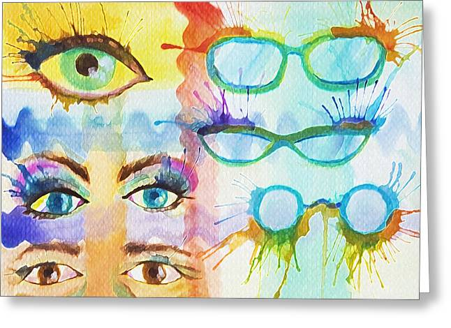 Greeting Card featuring the painting Glasses And Lashes by Angelique Bowman