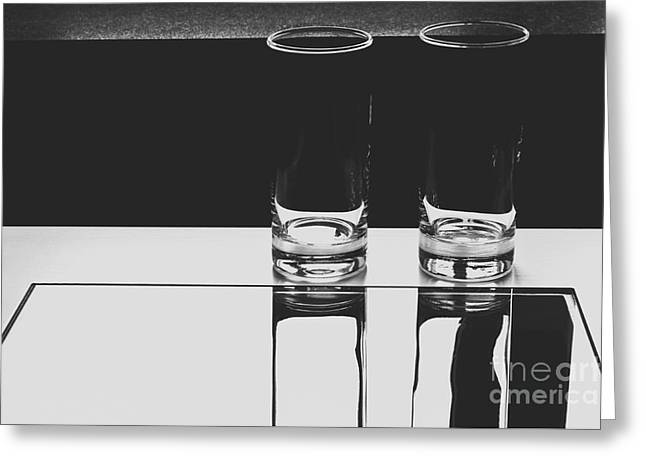 Glasses On A Table Bw Greeting Card