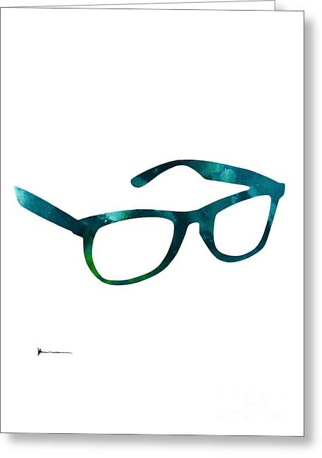 Glasses Silhouette  Watercolor Art Print Poster Greeting Card