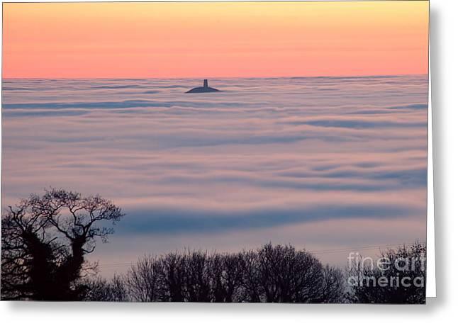 Glastonbury Tor Above The Fog Greeting Card