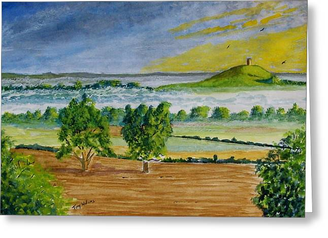 Tor Paintings Greeting Cards - Glastonbury Tor Somerset Greeting Card by Tony Williams