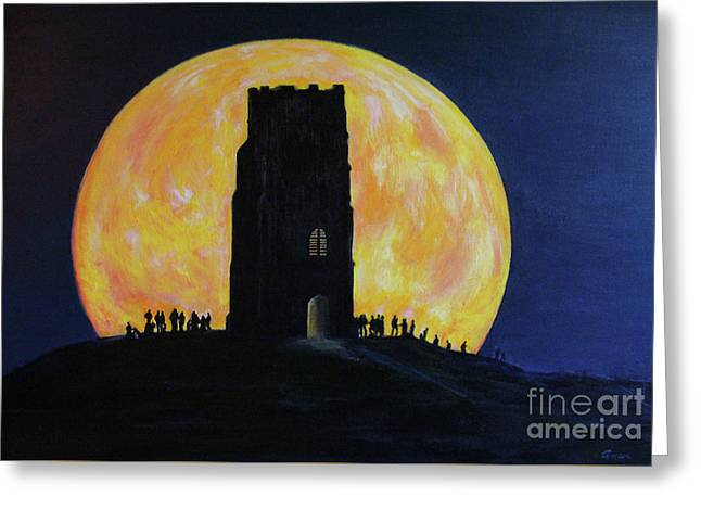 Super Moon Glastonbury Tor - Somerset, England   Greeting Card by Anees Peterman