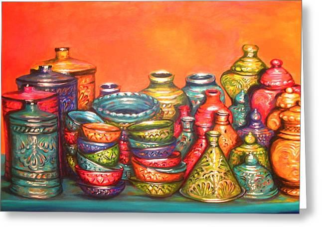 Yvonne Ayoub Greeting Cards - Glazed Moroccan Pots Greeting Card by Yvonne Ayoub
