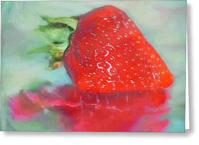Glazed Strawberry Love Greeting Card by Hal Halli