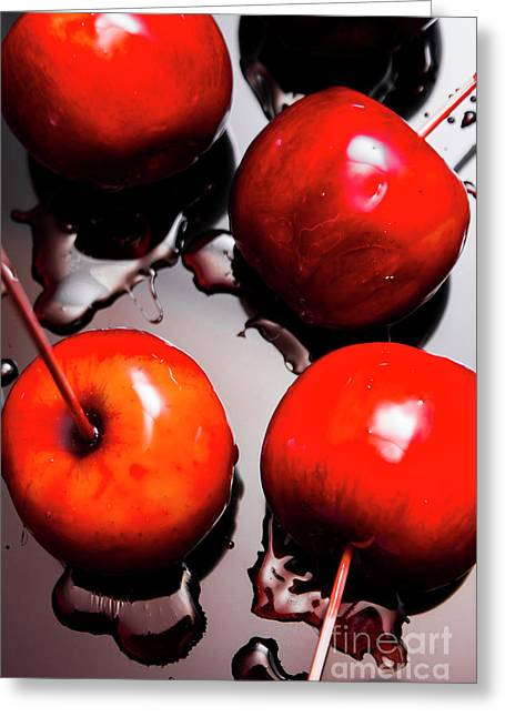 Gleaming Red Candy Apples Greeting Card by Jorgo Photography - Wall Art Gallery