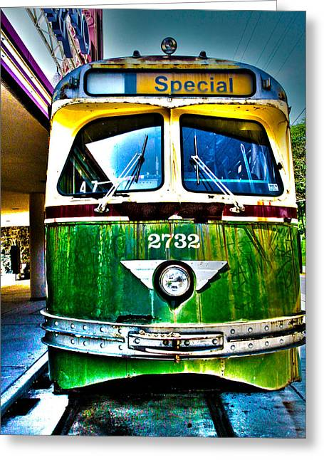 Glen Echo Trolley Greeting Card by Charlie Parker