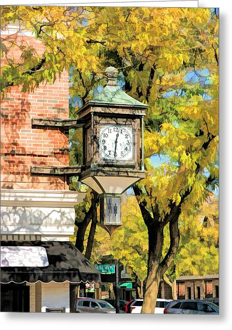 Glen Ellyn Corner Clock Greeting Card by Christopher Arndt