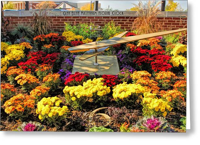 Greeting Card featuring the painting Glen Ellyn Millennium Flower Clock by Christopher Arndt