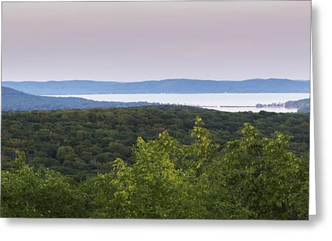 Glen Lake Panorama From The Dunes Greeting Card