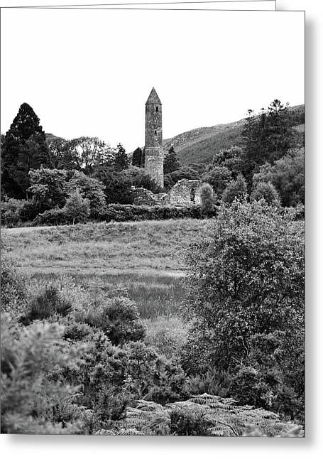 Glendalough Irish Countryside Round Tower And Meadow County Wicklow Ireland Black And White Greeting Card by Shawn O'Brien