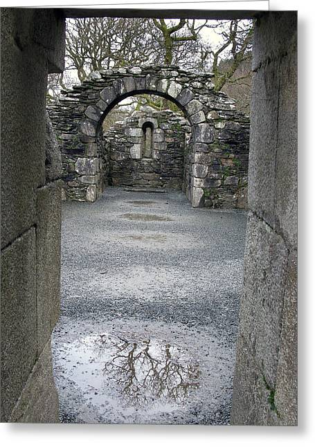 Glendalough Monestery Ireland Priest's House Greeting Card by Richard Singleton