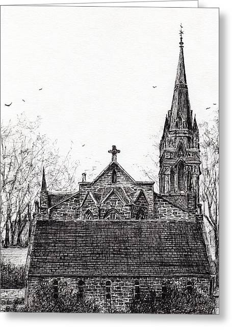 Glenmuick Church Greeting Card by Vincent Alexander Booth