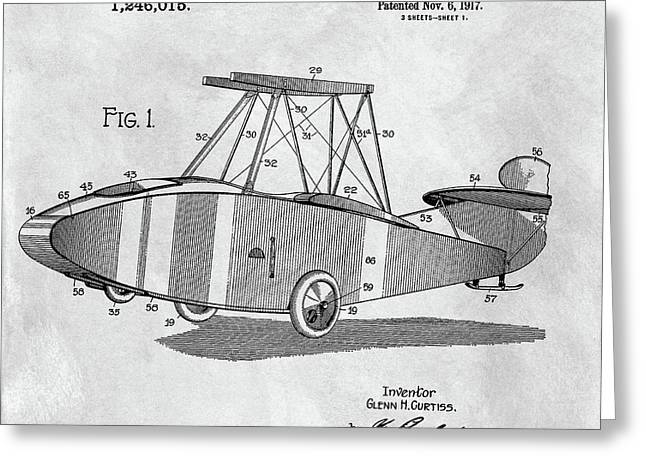 Glenn Curtiss Airplane Patent Greeting Card by Dan Sproul