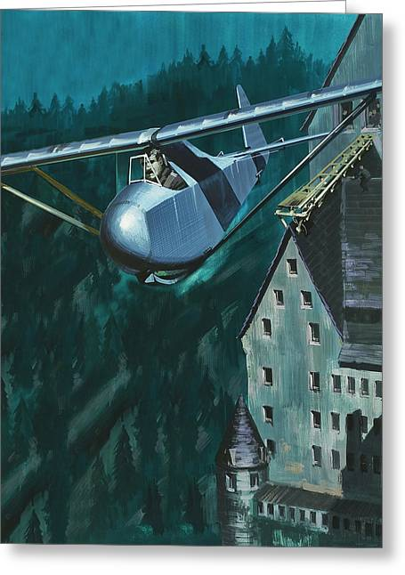 Glider Escape From Colditz Castle Greeting Card by Wilf Hardy