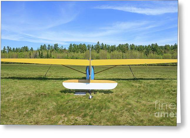 Glider Plane At Rural Airport Greeting Card by Edward Fielding