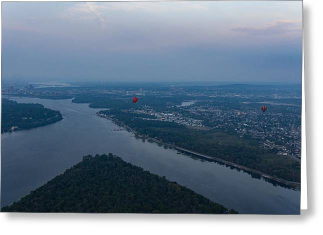 Gliding Over Ottawa River - A Hot Air Balloon Liftoff In The Morning Fog  Greeting Card by Georgia Mizuleva