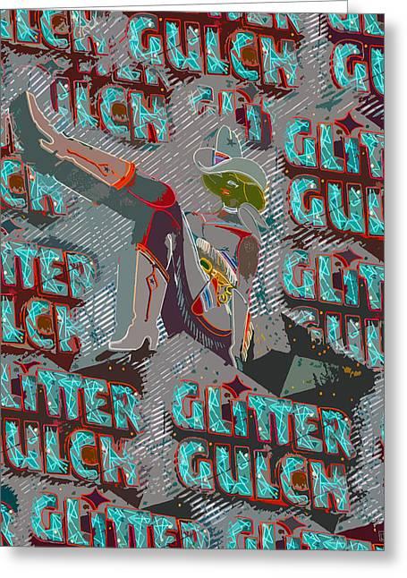 Glitter Gulch Cowgirl Greeting Card