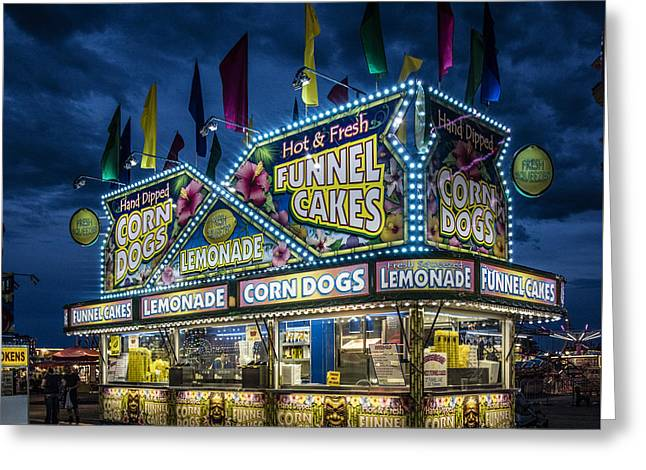 Glittering Concession Stand At The Colorado State Fair In Pueblo In Colorado Greeting Card
