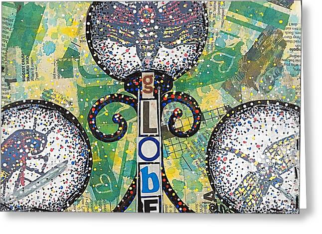 Globe Garden Dragonfly Insect Farmhouse Rustic Farmhouse Recycled Art Painting  Greeting Card by Heather Freitas