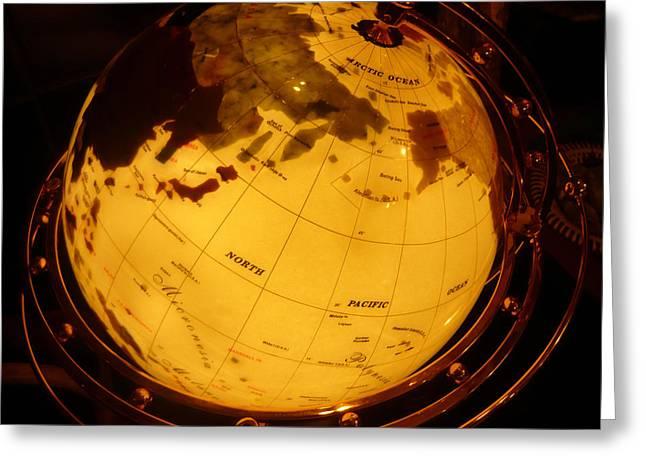 Globe Light One Greeting Card by Katherine Adams