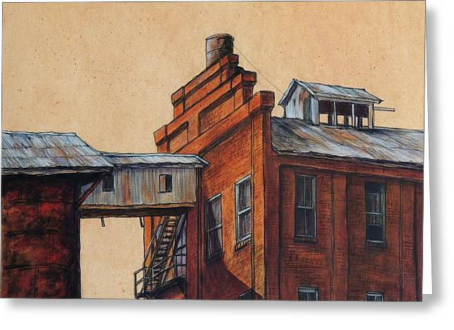 Globe Mills Walkway Greeting Card by Candy Mayer