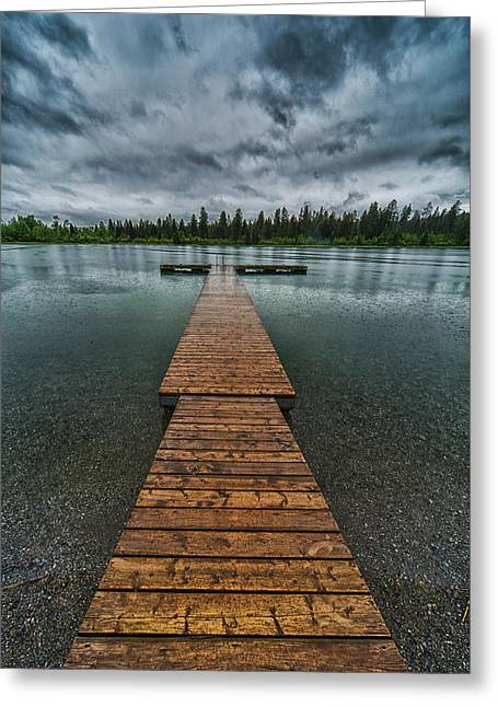 Greeting Card featuring the photograph Gloomy Rainy Day On Norbury Lake by Darcy Michaelchuk