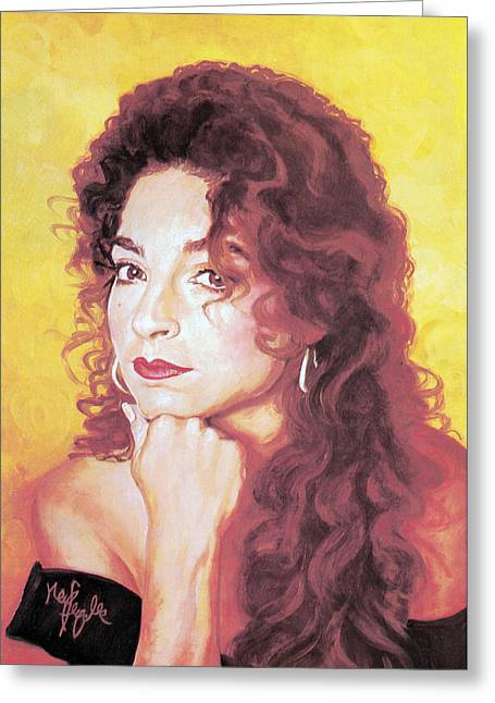 Gloria Estefan Greeting Card by Neil Feigeles