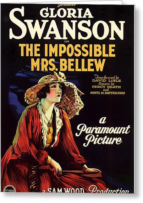 Gloria Swanson In The Impossible Mrs Bellew 1922 Greeting Card by Mountain Dreams