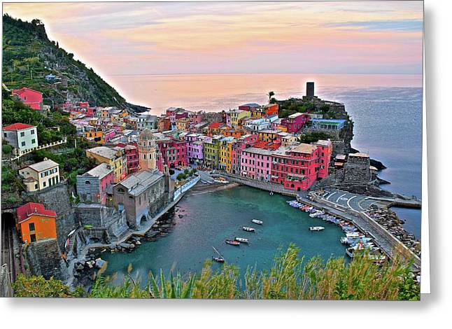 Glorious Sunrise Behind Vernazza Greeting Card