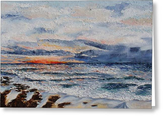 Pallet Knife Photographs Greeting Cards - Glorious Sunset  Greeting Card by Tatjana Popovska