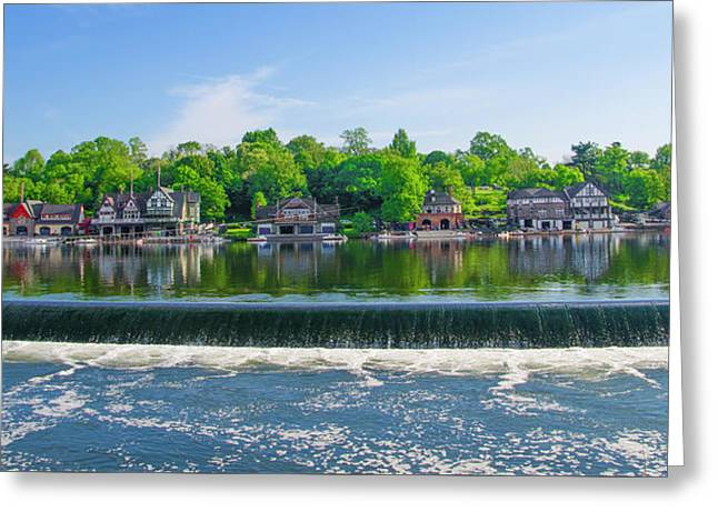 Glorious View From Fairmount Dam - Boathouse Row Philadelphia Greeting Card