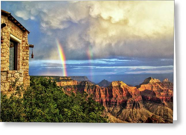 Glorious View From North Rim Lodge Greeting Card by Carolyn Derstine