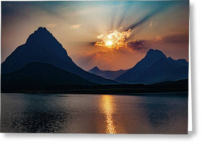 Greeting Card featuring the photograph Glory At Many Glacier by Lon Dittrick