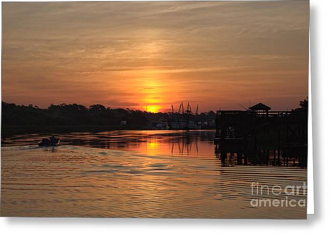 Glory Of The Morning On The Water Greeting Card